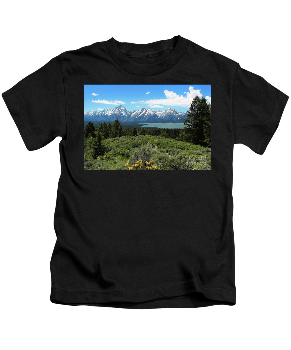 Grand Tetons Kids T-Shirt featuring the photograph Grand Tetons by Jemmy Archer
