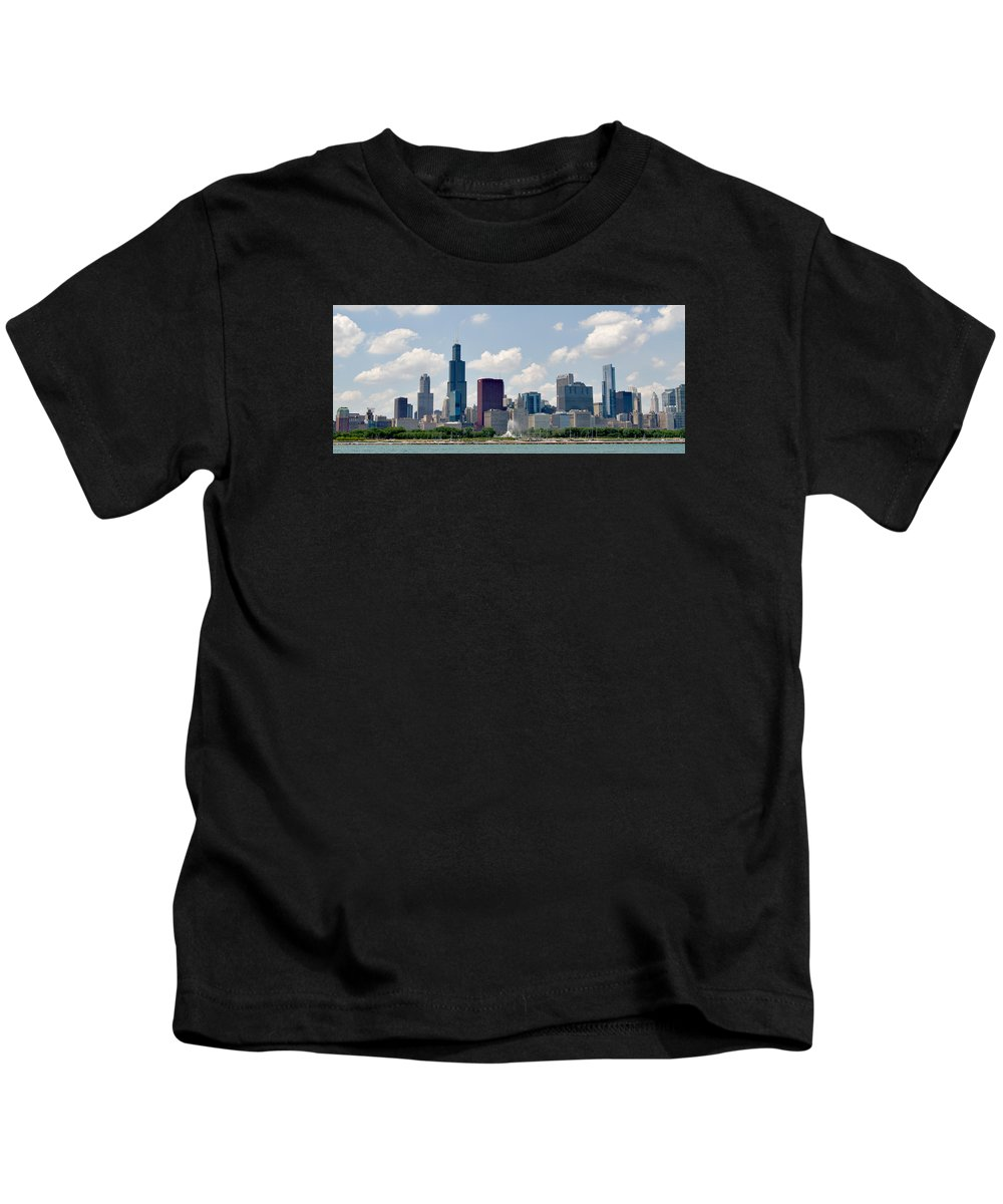 Illinois Kids T-Shirt featuring the photograph Grant Park And Chicago Skyline by Alan Toepfer