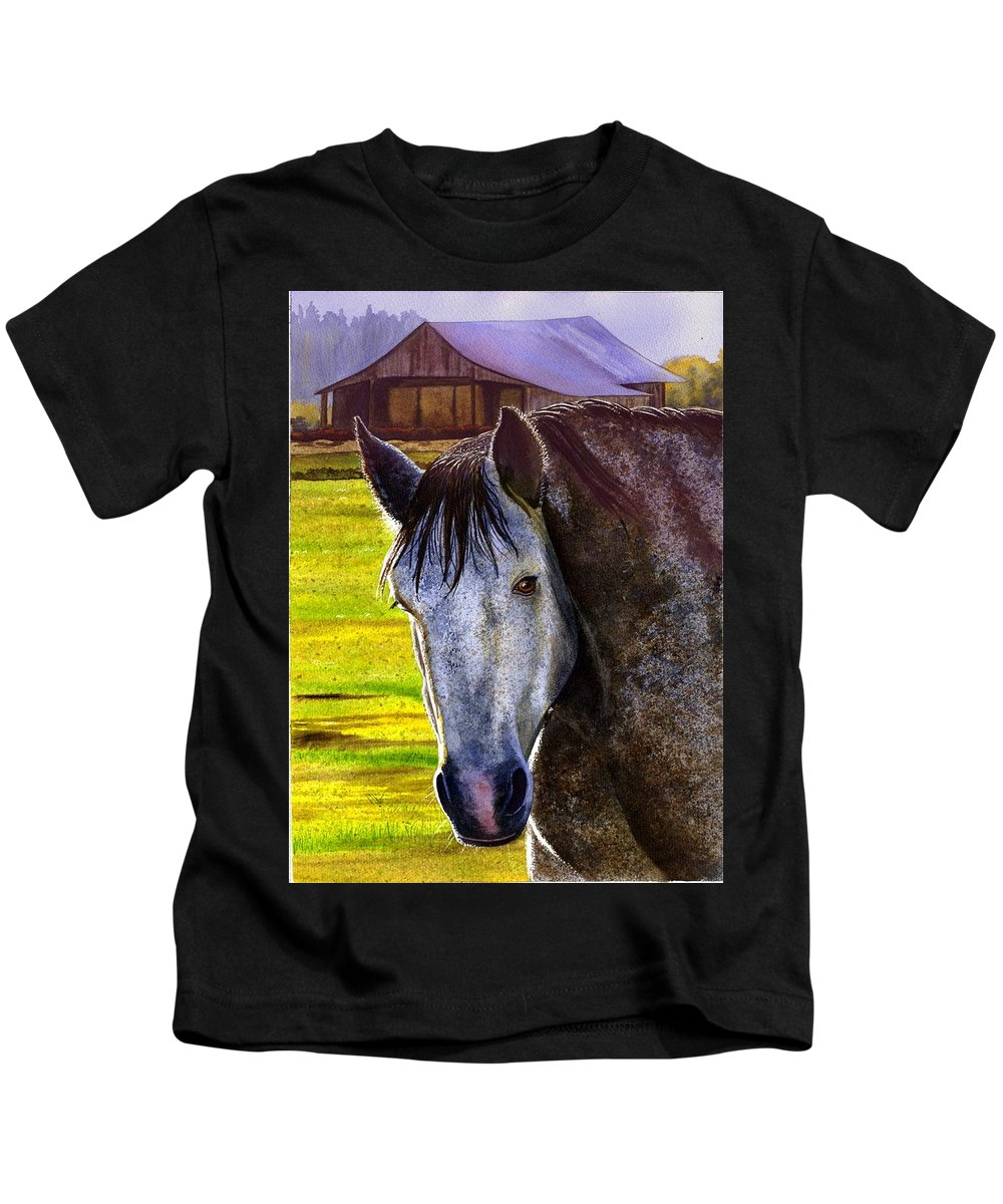 Horse Kids T-Shirt featuring the painting Gray Horse by Catherine G McElroy