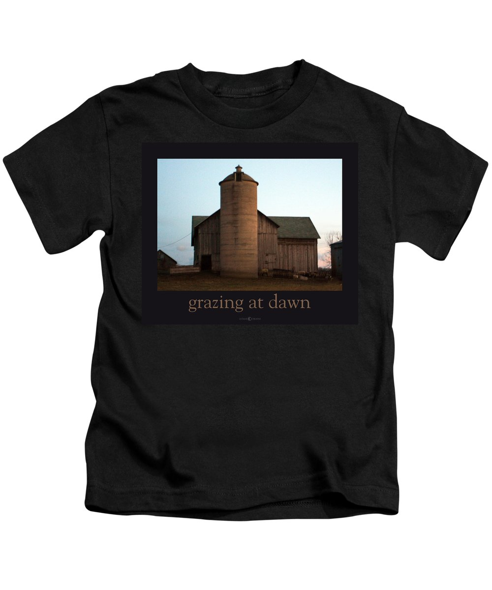 Barn Kids T-Shirt featuring the photograph Grazing At Dawn by Tim Nyberg