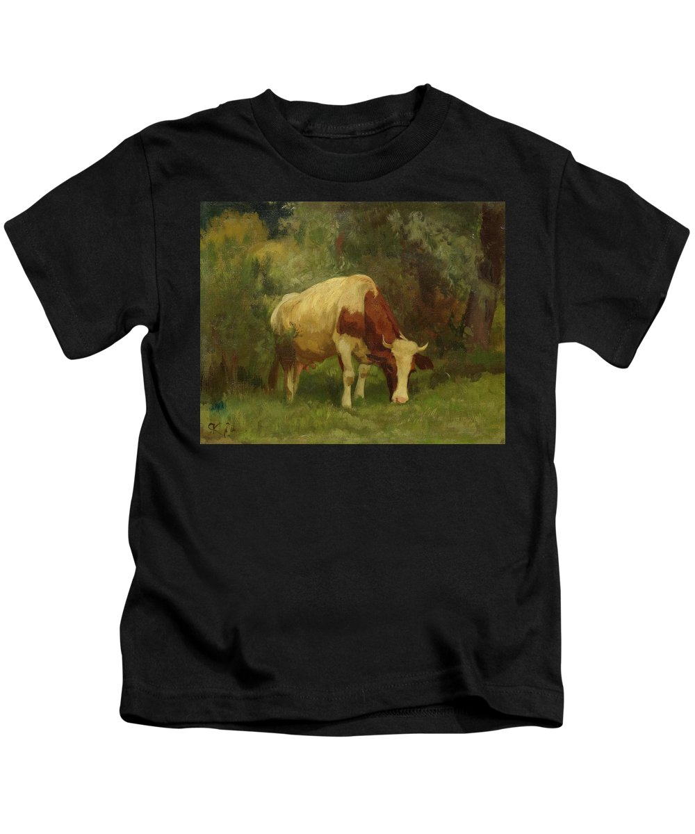 Koller Kids T-Shirt featuring the painting Grazing Cow by MotionAge Designs
