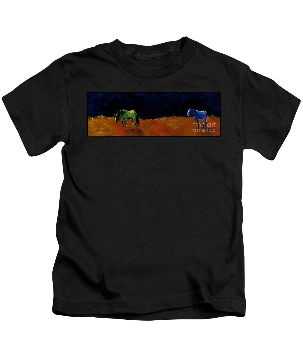 Abstract Horses Kids T-Shirt featuring the painting Grazing In The Moonlight by Frances Marino