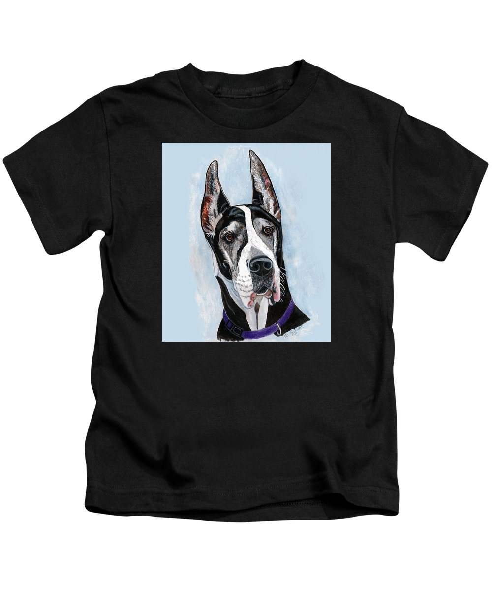 Great Dane Kids T-Shirt featuring the painting Great Dane by Frances Gillotti