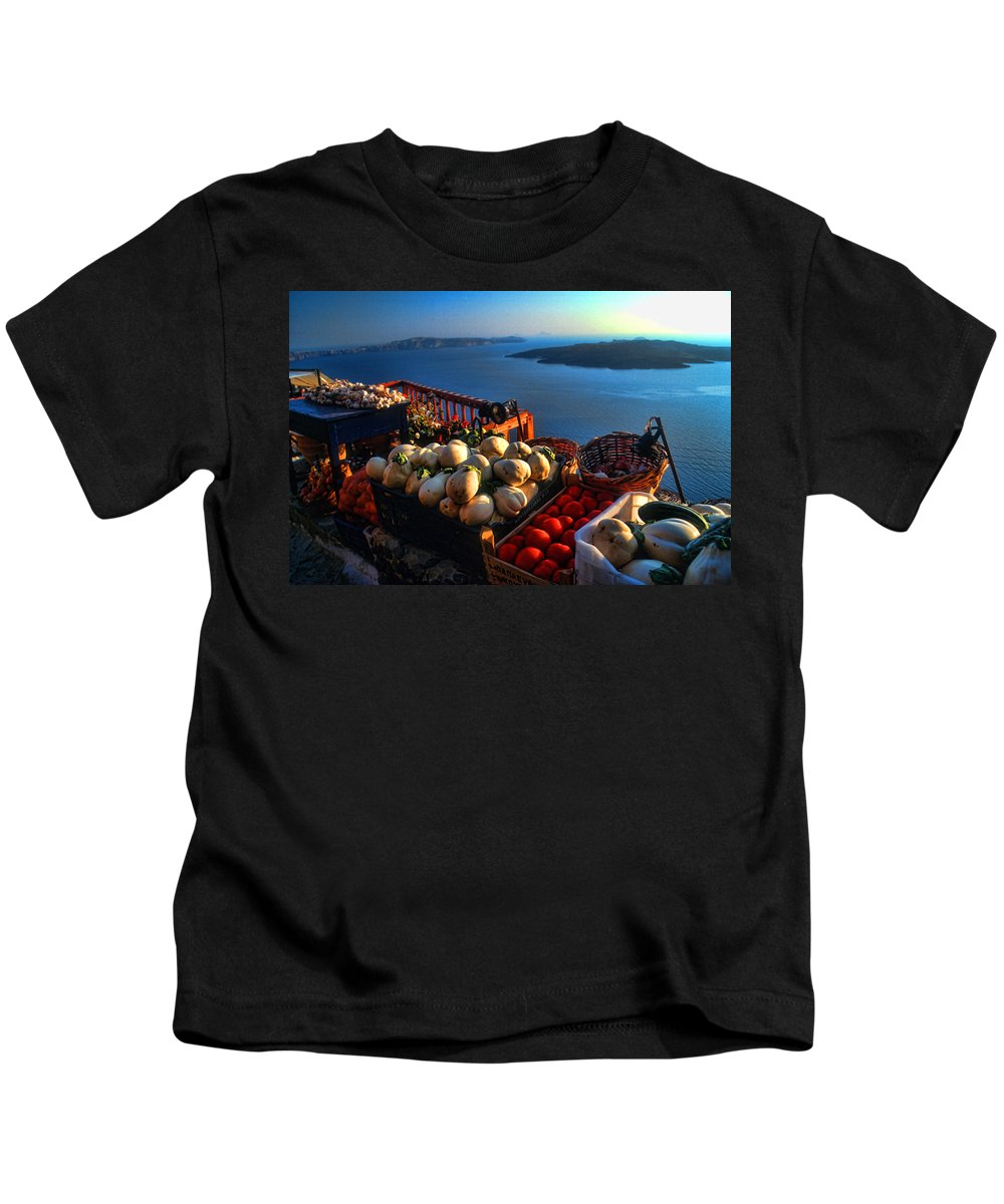 Europe Kids T-Shirt featuring the photograph Greek Food At Santorini by David Smith
