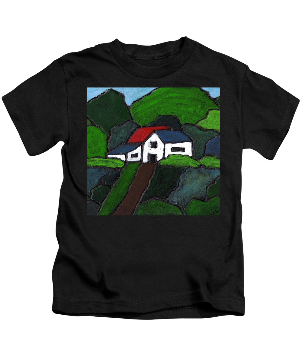 Rural Kids T-Shirt featuring the painting Green Acres by Wayne Potrafka