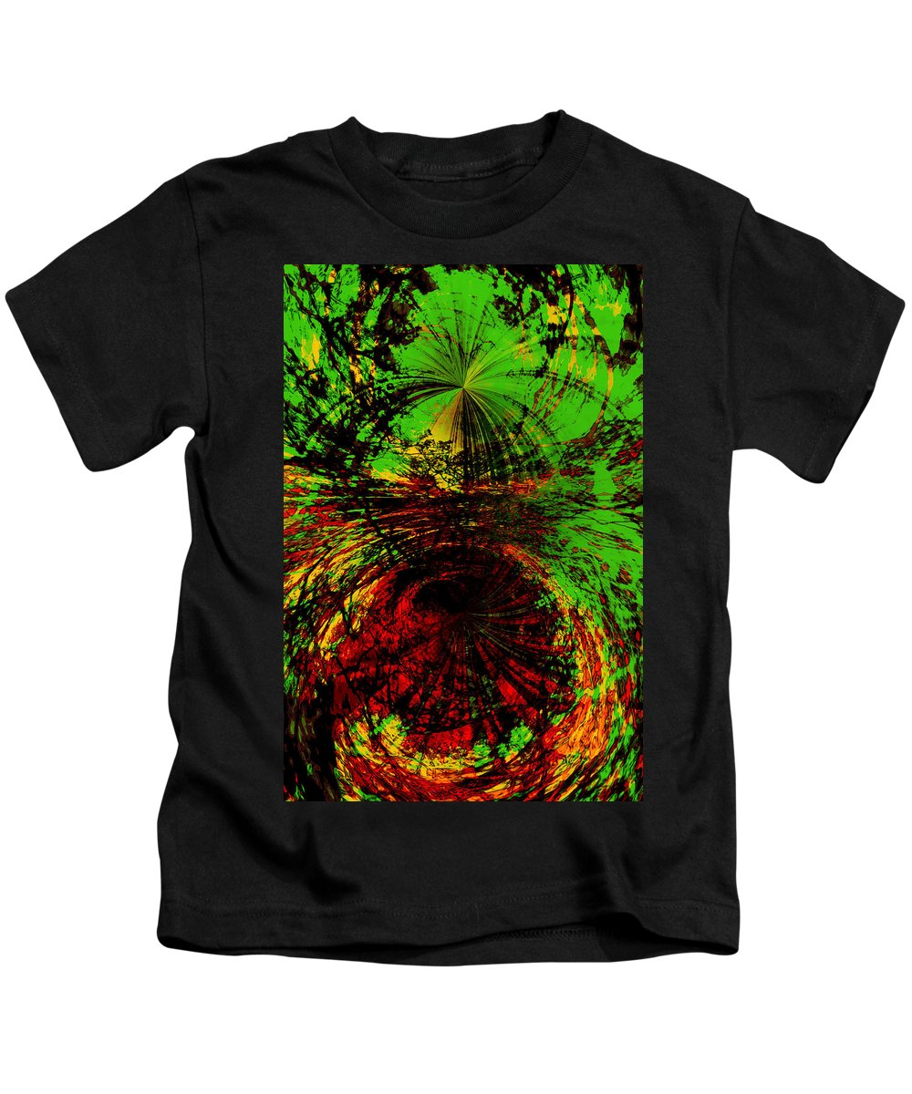 Abstract Kids T-Shirt featuring the digital art Green And Red by Galeria Trompiz
