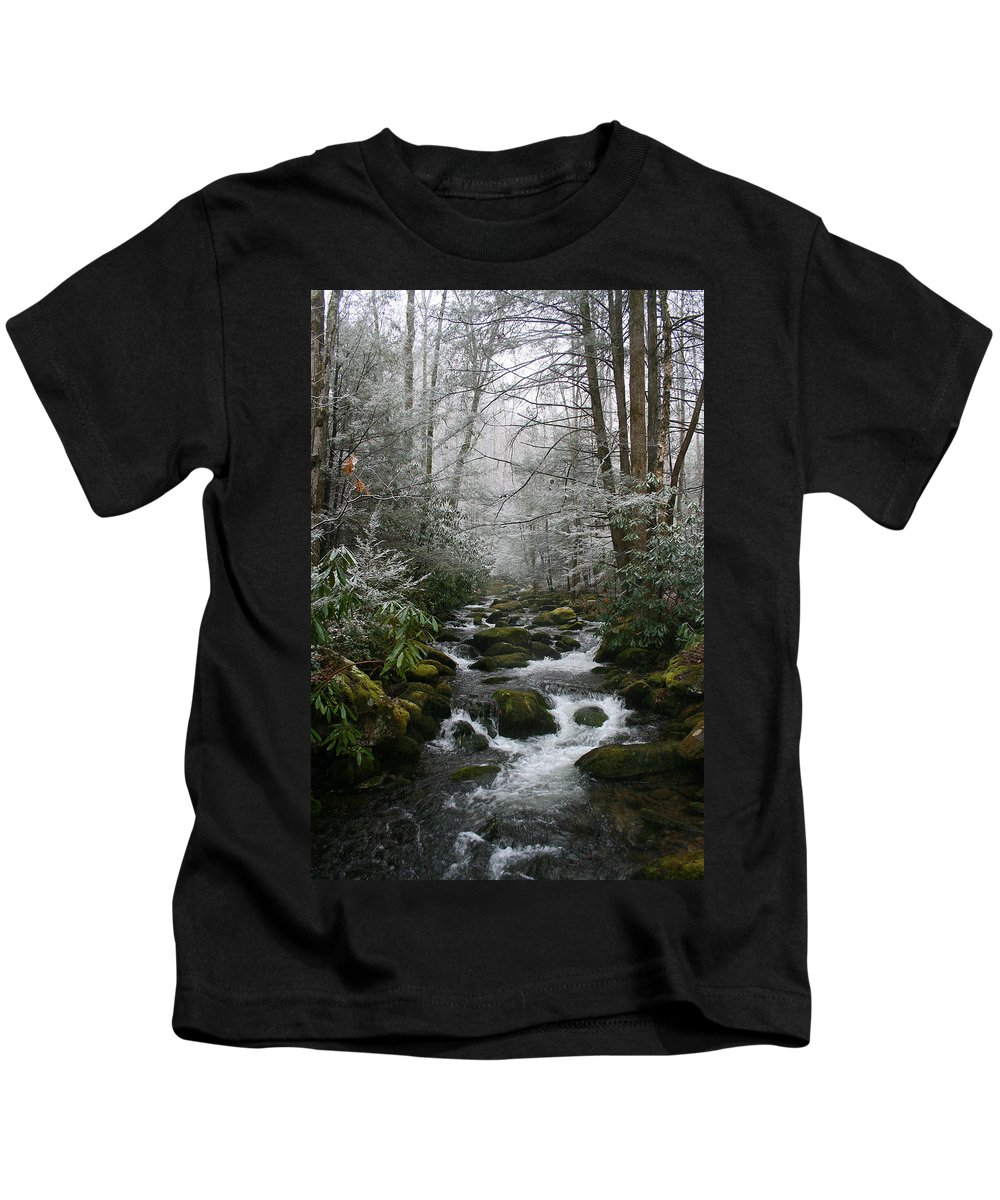 Green Snow Tree Trees Winter Stream River Creek Water Stone Rock Flow Boulder Forest Woods Cold Kids T-Shirt featuring the photograph Green And White by Andrei Shliakhau