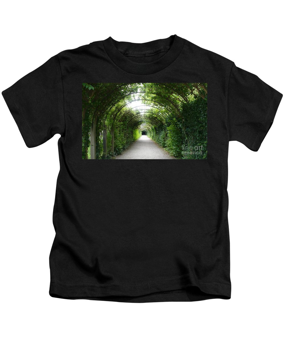 Arbor Kids T-Shirt featuring the photograph Green Arbor Of Mirabell Garden by Carol Groenen