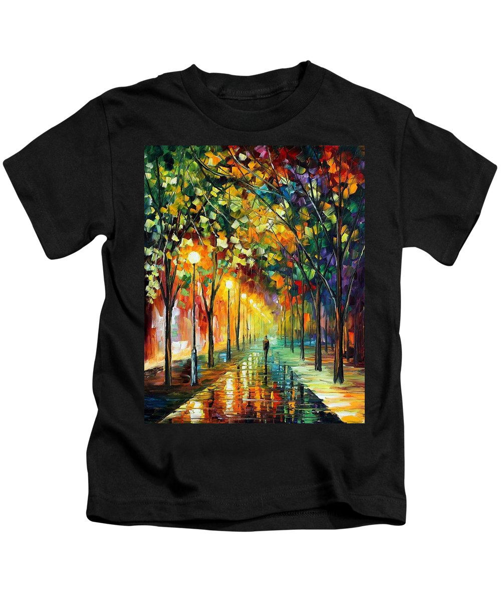 Afremov Kids T-Shirt featuring the painting Green Dreams by Leonid Afremov