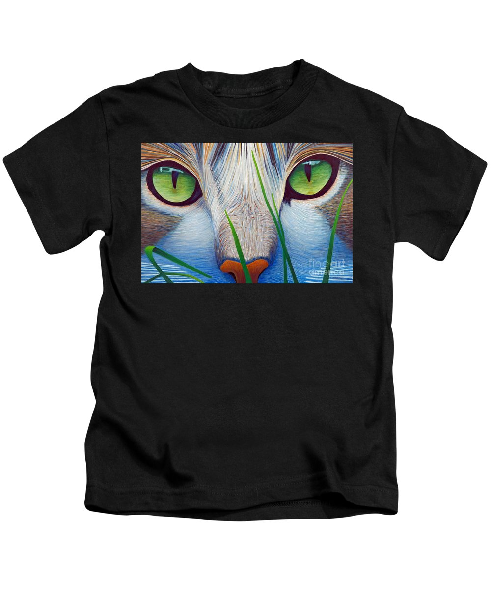 Cat Kids T-Shirt featuring the painting Green Eyes by Brian Commerford