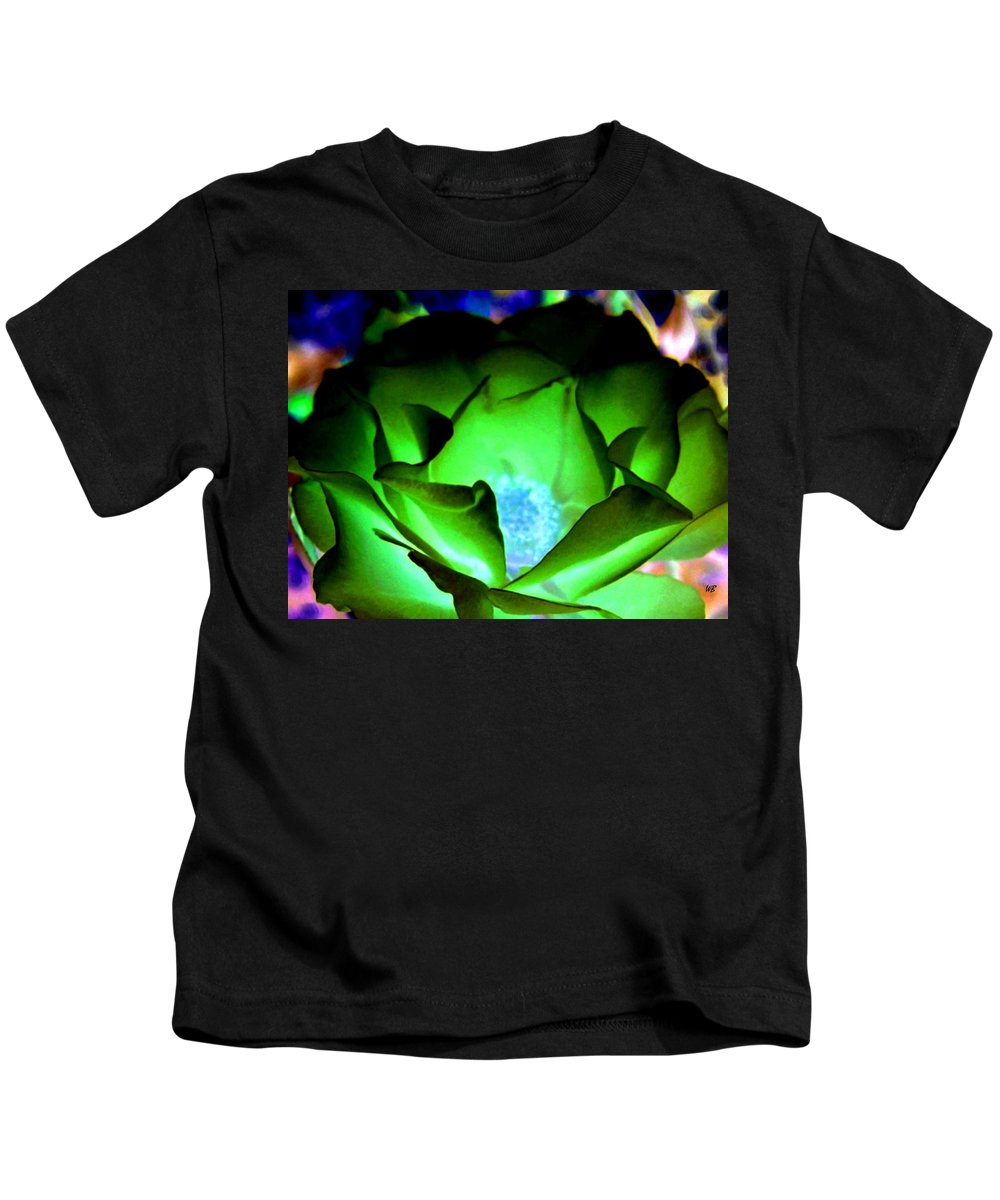 Rose Kids T-Shirt featuring the digital art Green Glow by Will Borden