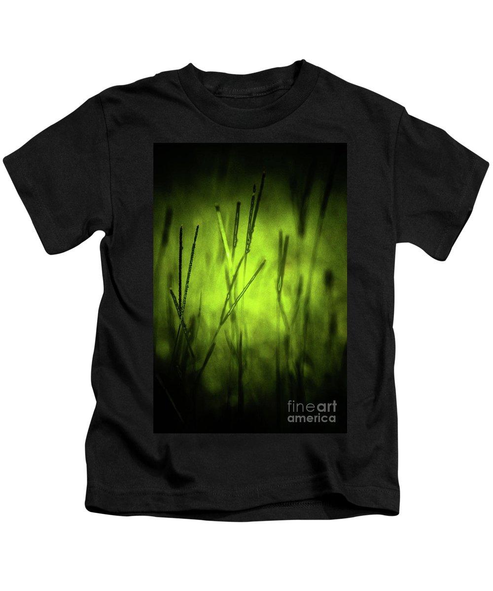 Grass Kids T-Shirt featuring the digital art Green Grass Grow Glow by Kim Henderson