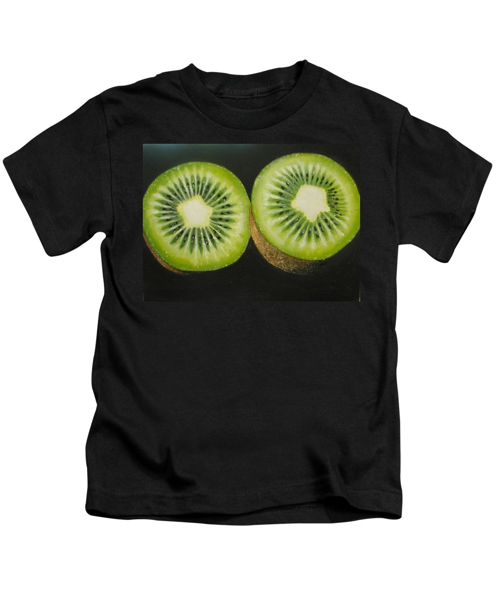 Kiwi Kids T-Shirt featuring the painting Green Kiwi Oil Painting by Natalja Picugina