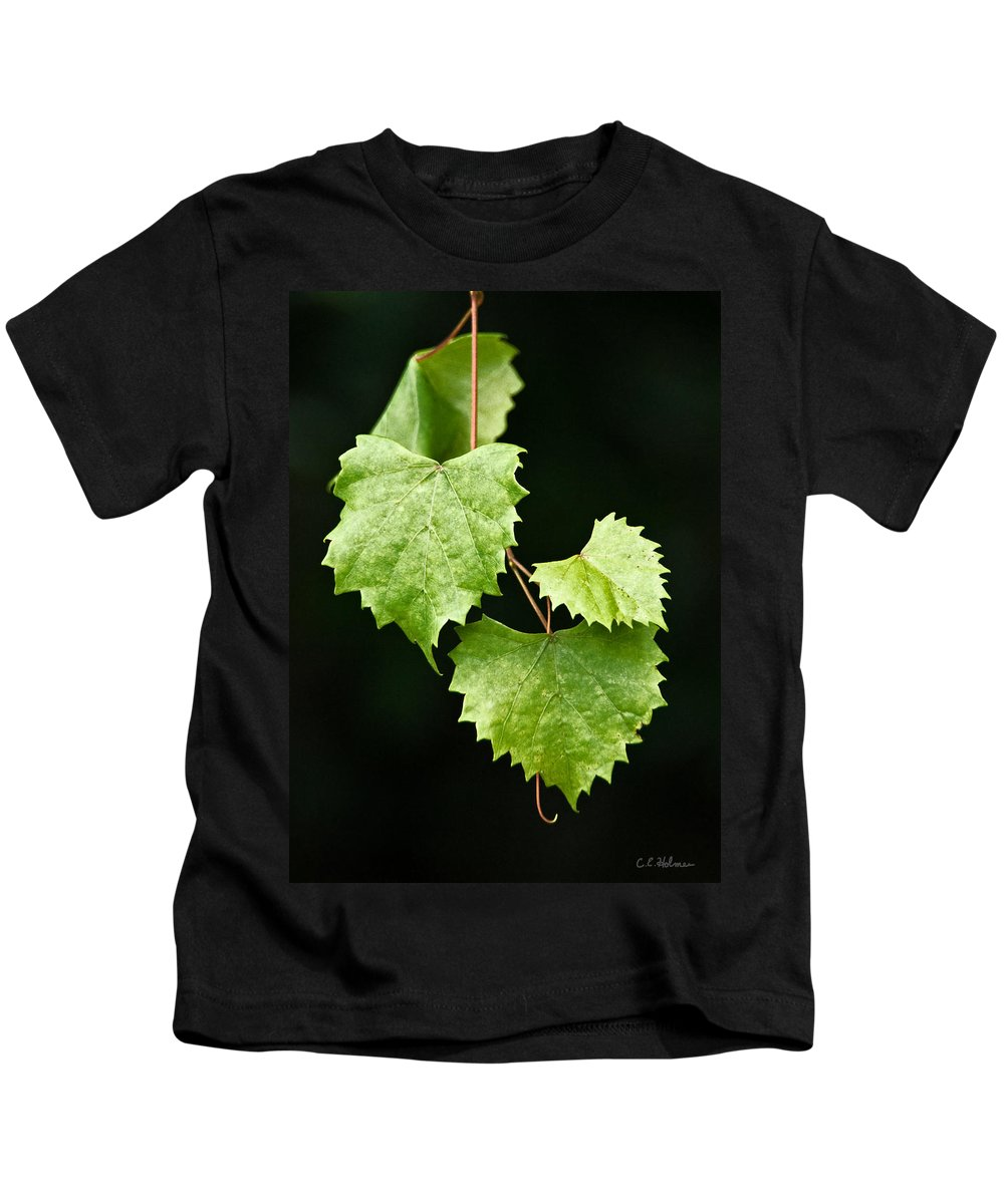 Flora Kids T-Shirt featuring the photograph Green Leaves by Christopher Holmes