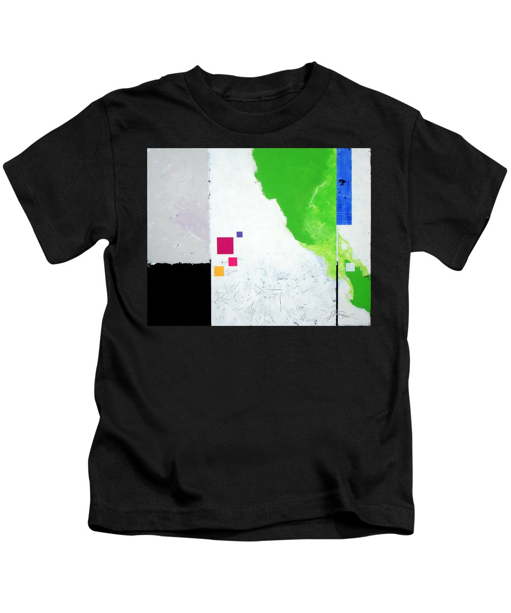 Abstract Kids T-Shirt featuring the painting Green Movement by Jean Pierre Rousselet