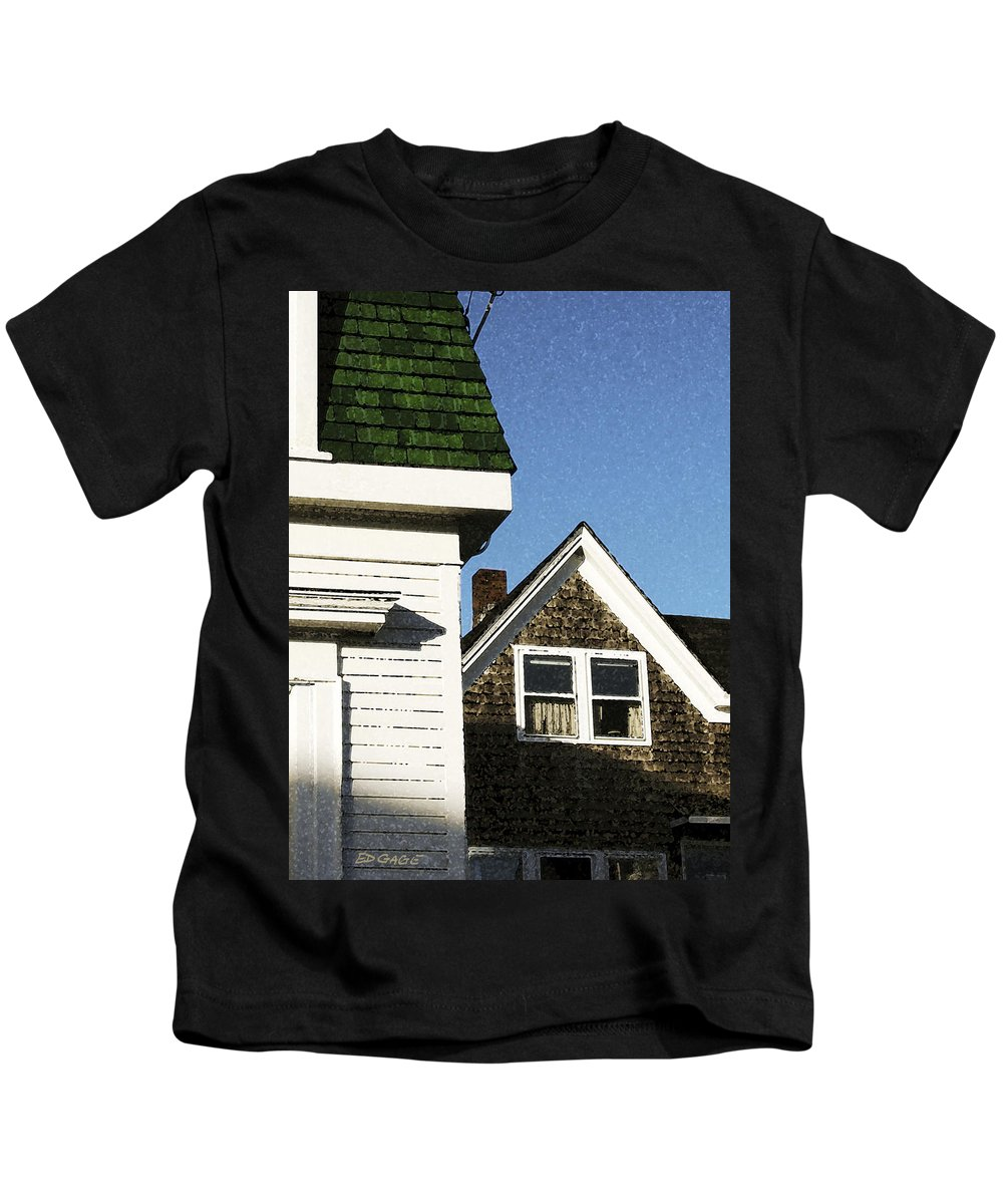 Maine Kids T-Shirt featuring the photograph Green Roof Stonington Deer Isle Maine Coast by Ed A Gage