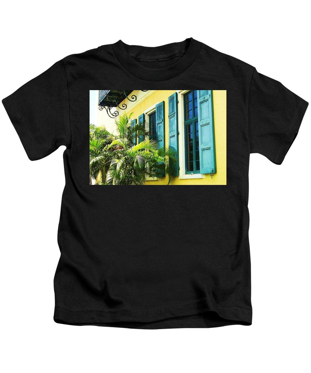 Architecture Kids T-Shirt featuring the photograph Green Shutters by Debbi Granruth