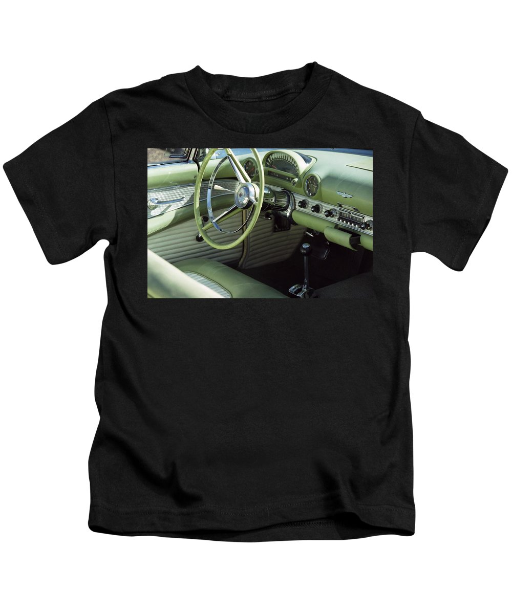 Photography Kids T-Shirt featuring the photograph Green Thunderbird Wheel And Front Seat by Heather Kirk