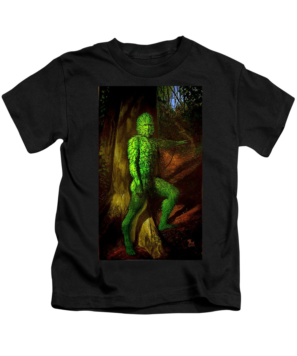 Myth Kids T-Shirt featuring the mixed media Greenman by Will Brown