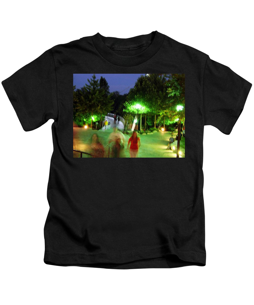 Falls Park Kids T-Shirt featuring the photograph Greenville At Night by Flavia Westerwelle