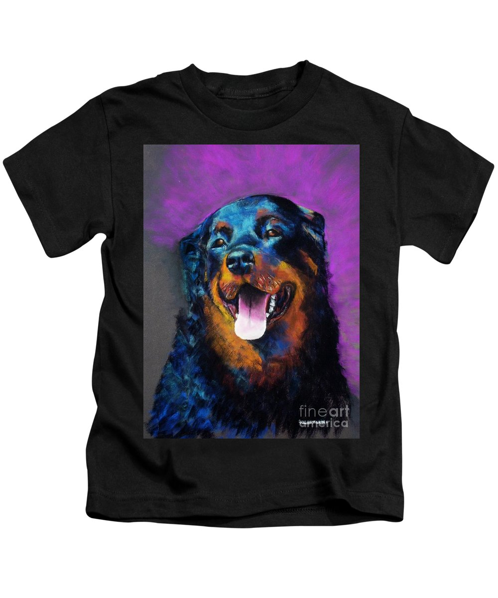 Rottweiler Kids T-Shirt featuring the painting Gretchen by Frances Marino