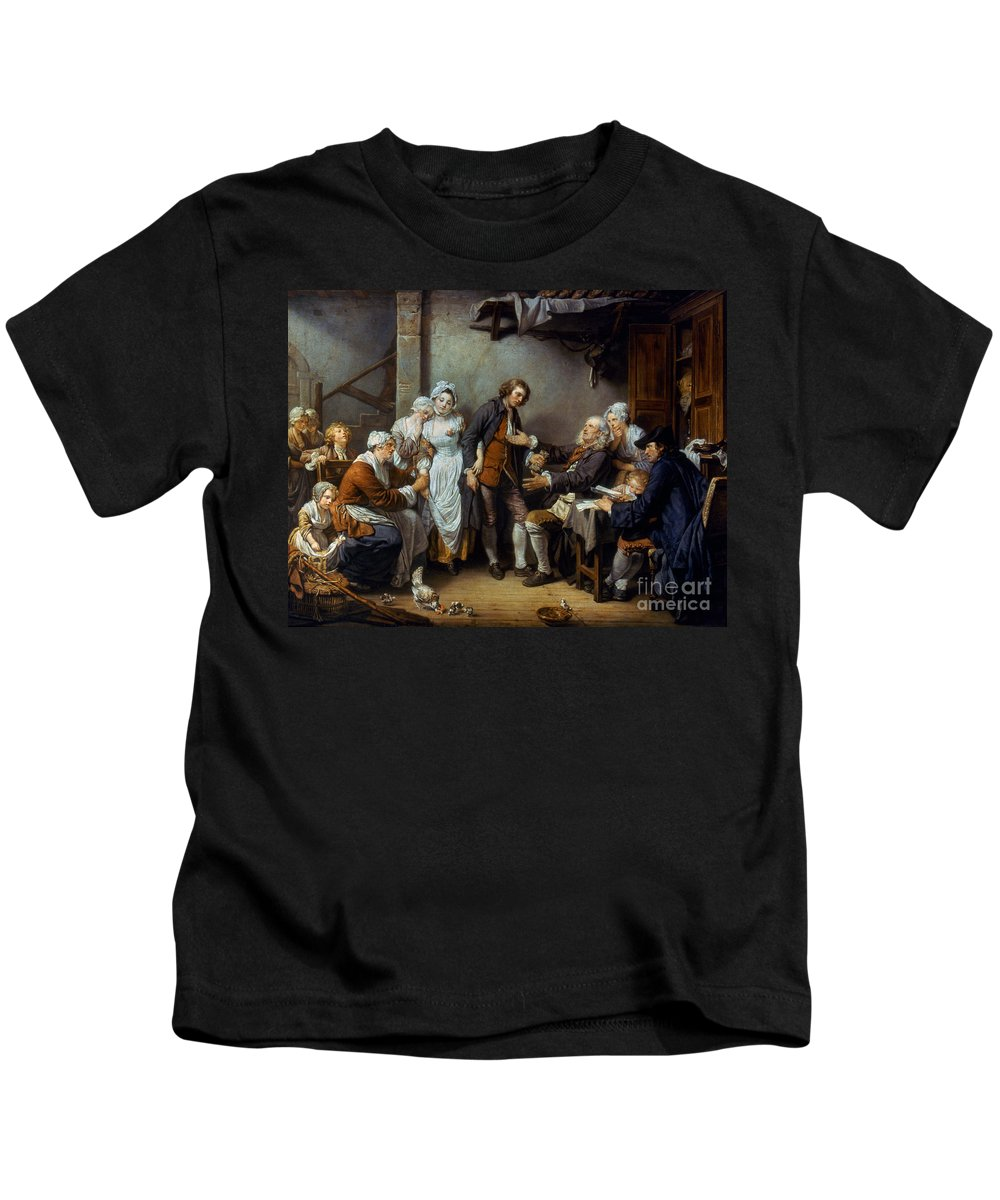 18th Century Kids T-Shirt featuring the photograph Greuze: The Village Bride by Granger