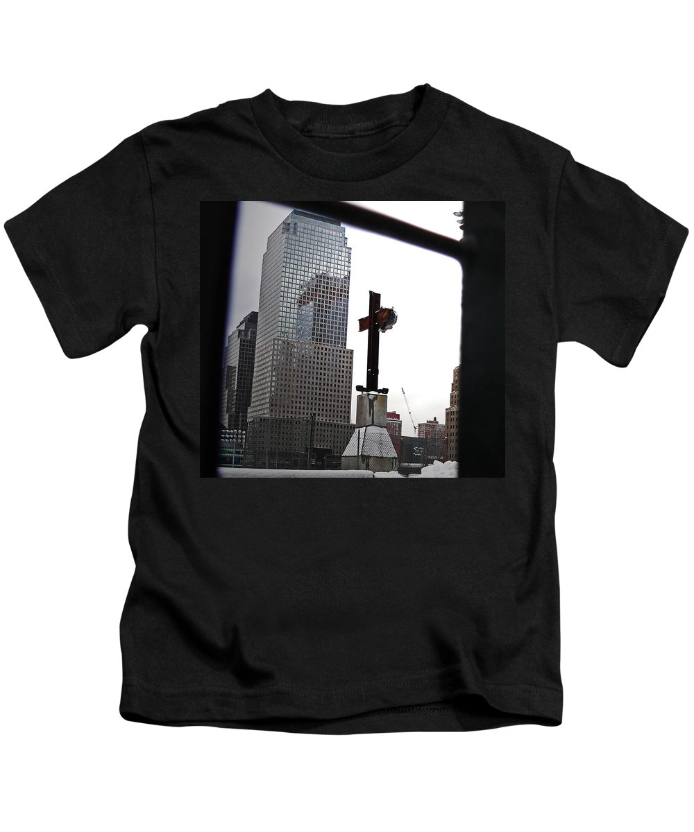 911 Kids T-Shirt featuring the photograph Ground Zero by Angela Wright