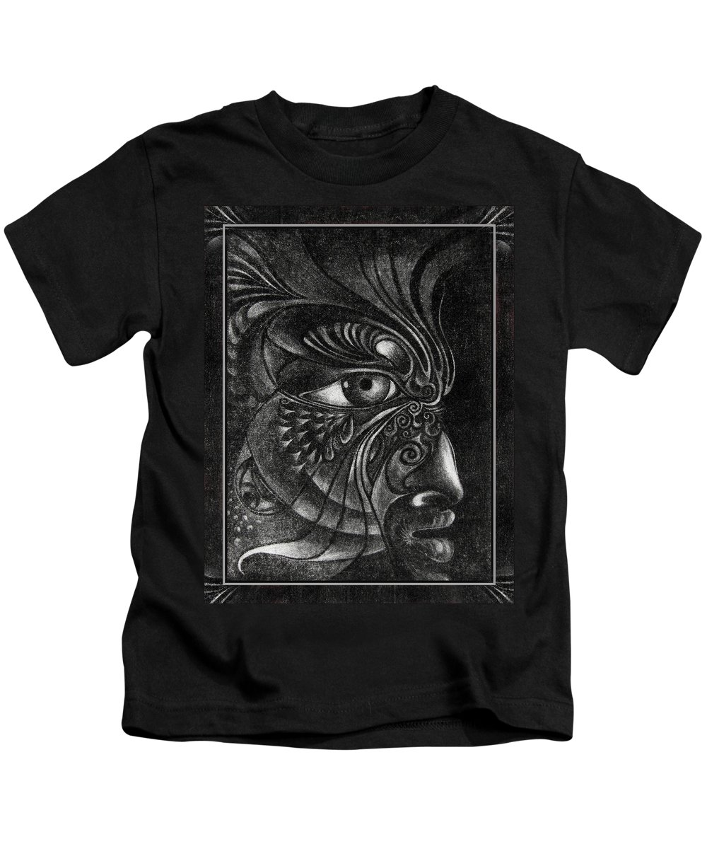 Mezzotint Kids T-Shirt featuring the drawing Guardian Cherub by Otto Rapp