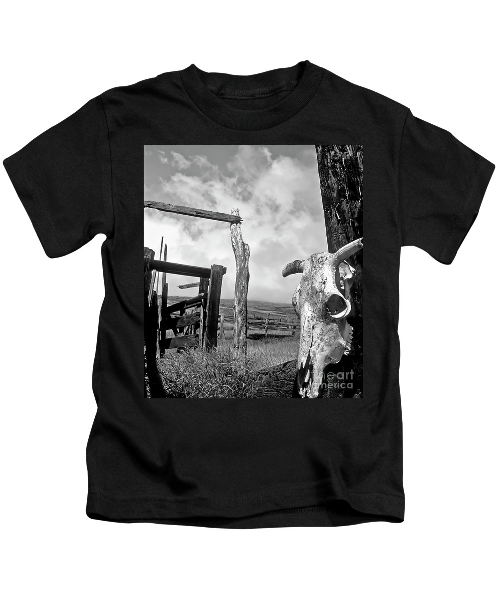 Black And White Kids T-Shirt featuring the photograph Guardian Spirit by Jim Cazel