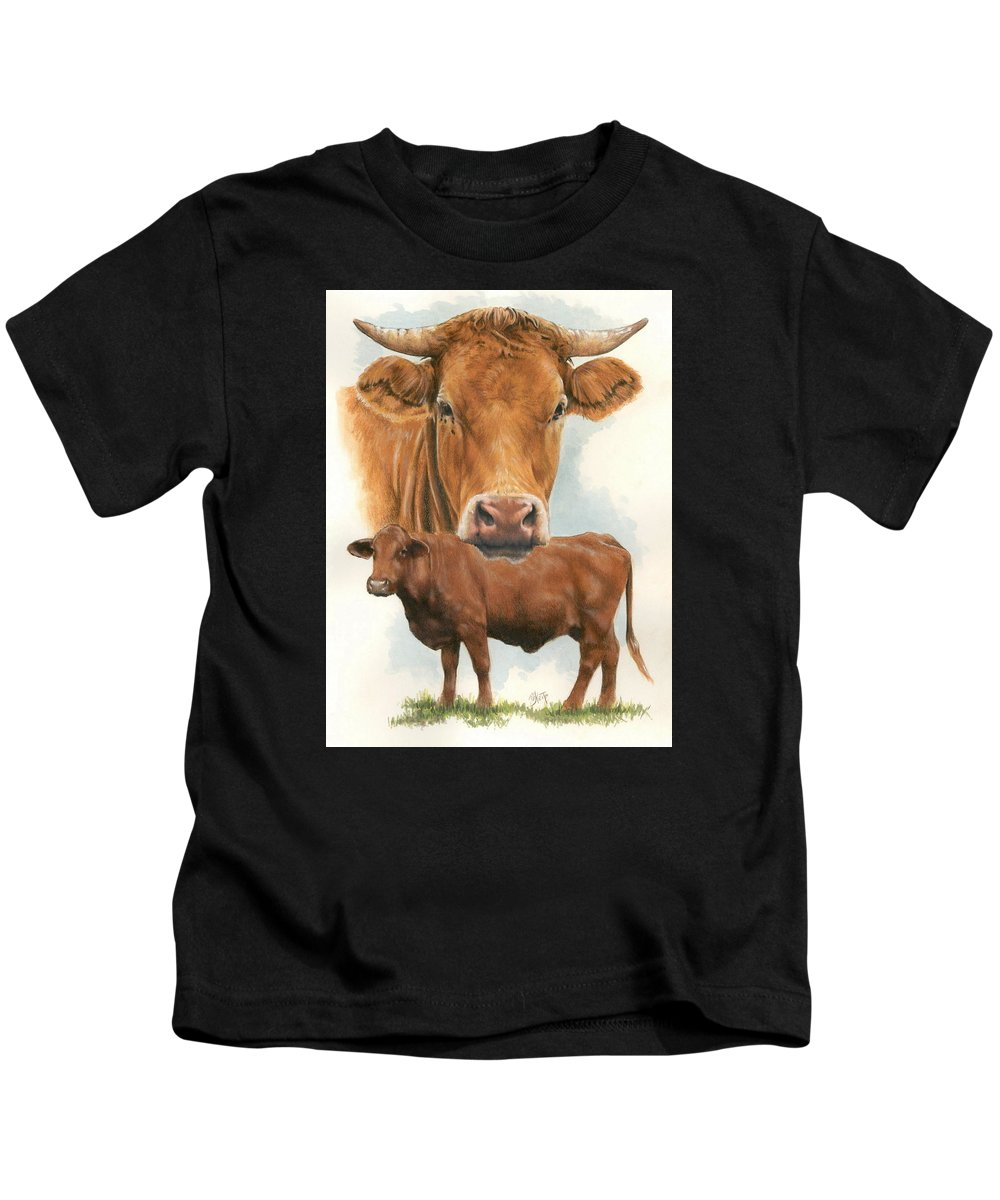 Cow Kids T-Shirt featuring the mixed media Guernsey by Barbara Keith