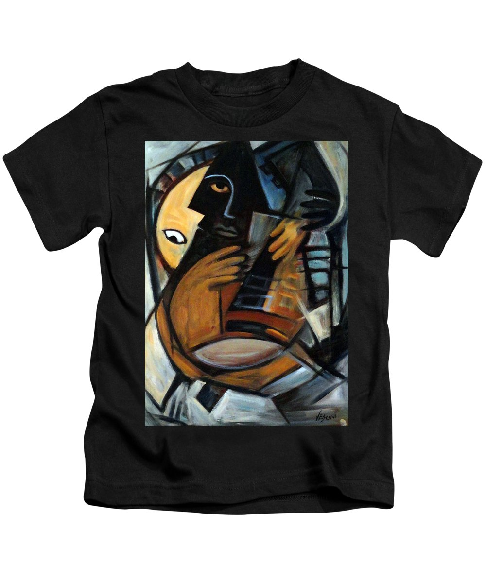 Cubism Kids T-Shirt featuring the painting Guitarist by Valerie Vescovi