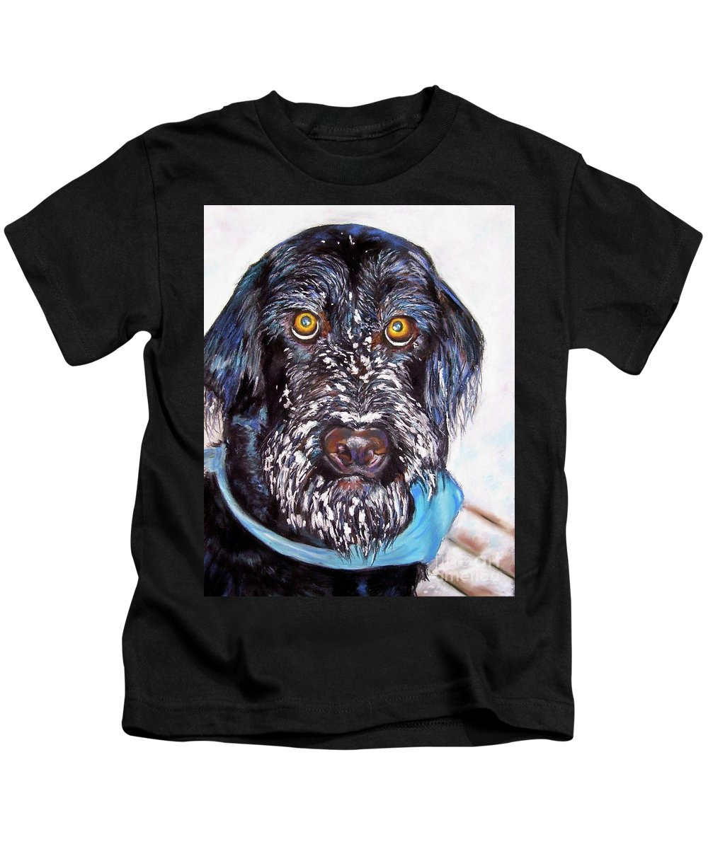 Dog Kids T-Shirt featuring the painting Gus by Frances Marino