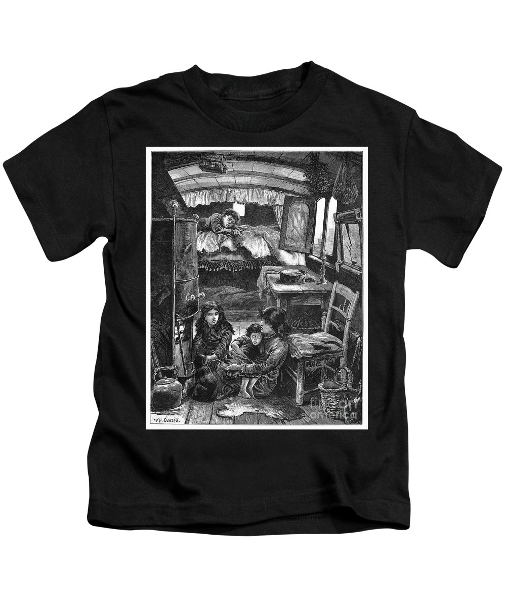 1879 Kids T-Shirt featuring the photograph Gypsy Wagon, 1879 by Granger