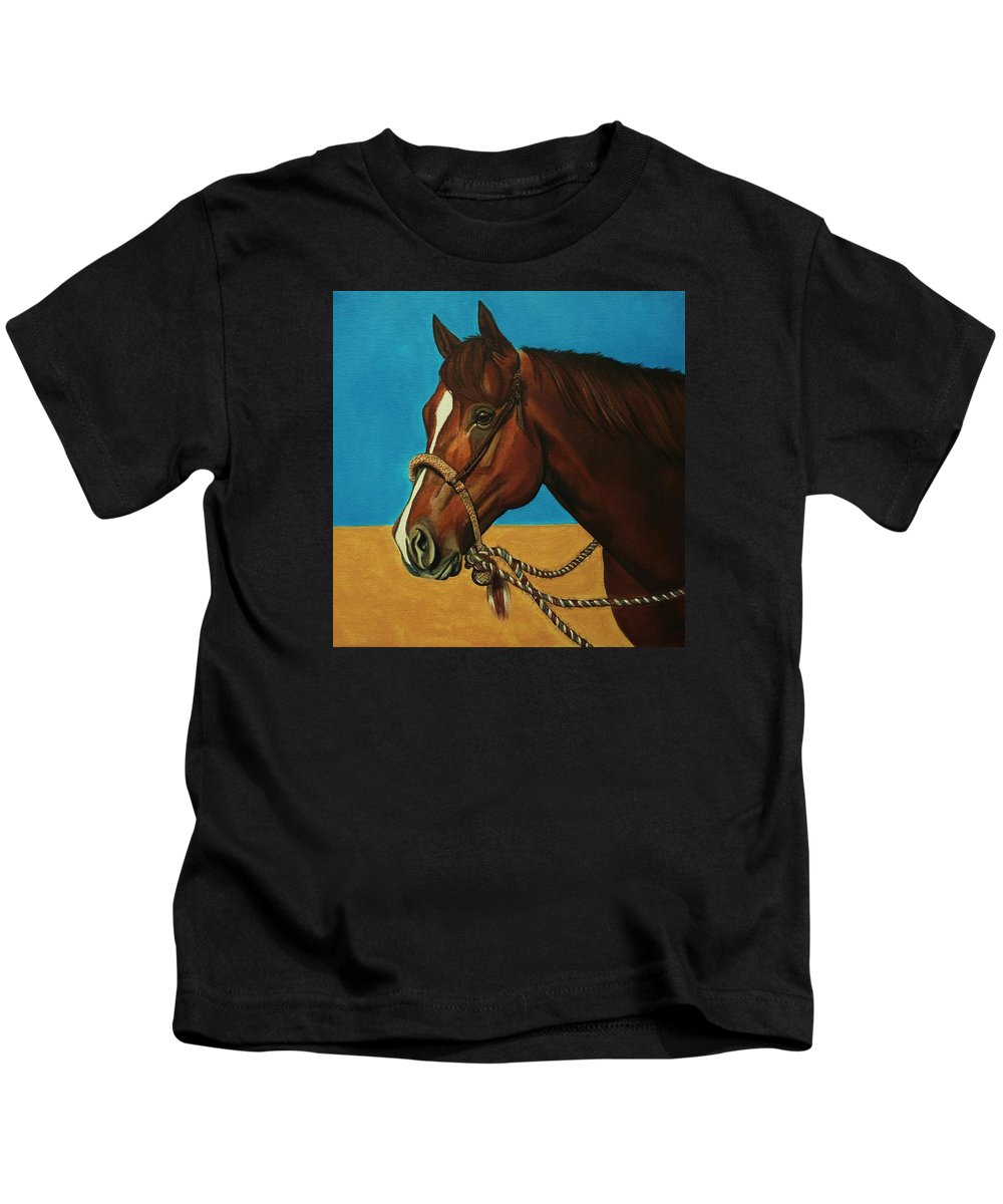 Horse Kids T-Shirt featuring the painting Hackamore Horse by Lucy Deane