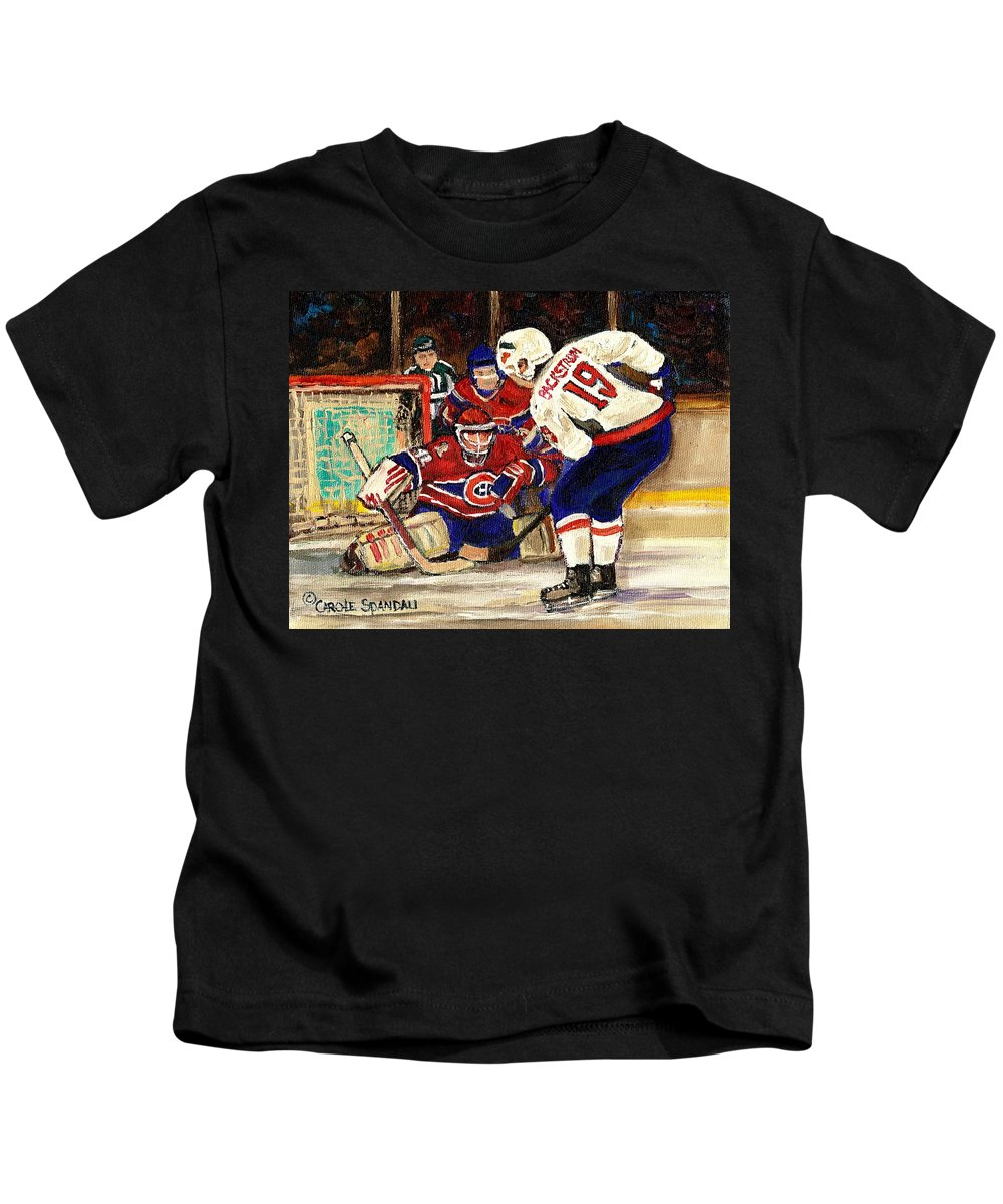 Halak Blocks Backstrom In Stanley Cup Playoffs 2010 Kids T-Shirt featuring the painting Halak Blocks Backstrom In Stanley Cup Playoffs 2010 by Carole Spandau