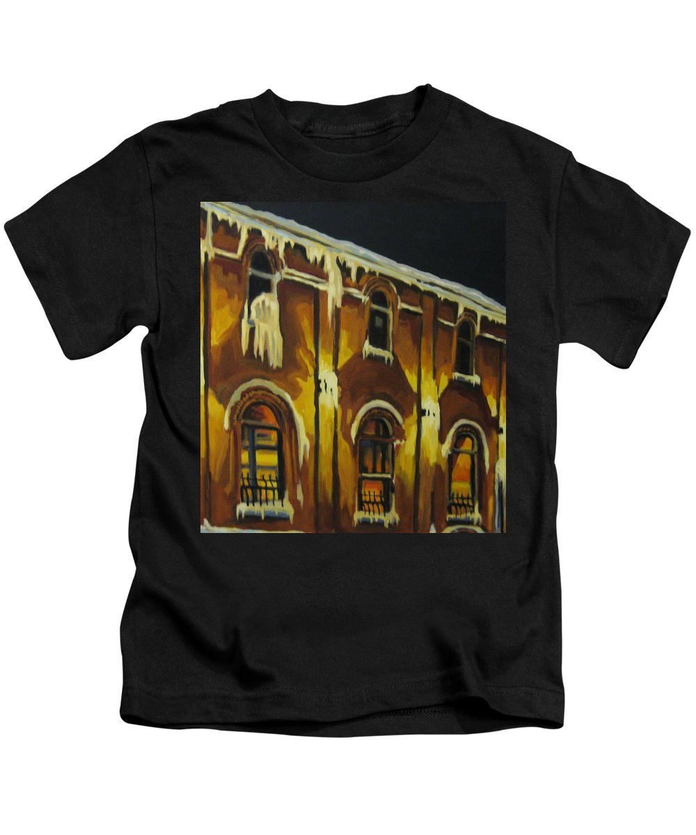 Urban Landscapes Kids T-Shirt featuring the painting Halifax Ale House In Ice by John Malone