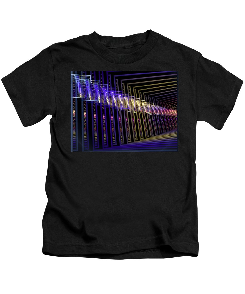 Fractal Kids T-Shirt featuring the digital art Hall Of Lights by Amorina Ashton