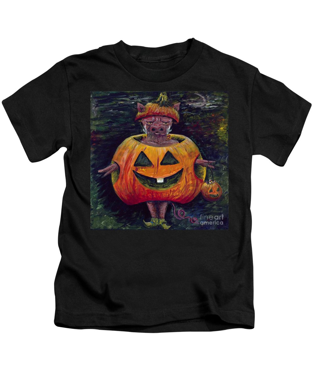 Halloween Kids T-Shirt featuring the painting Halloween Hog by Nadine Rippelmeyer