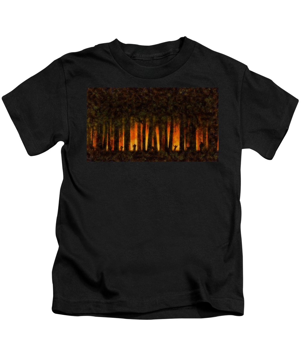 Fantasy Kids T-Shirt featuring the painting Halloween Horror Zombie Rampage by Sarah Kirk