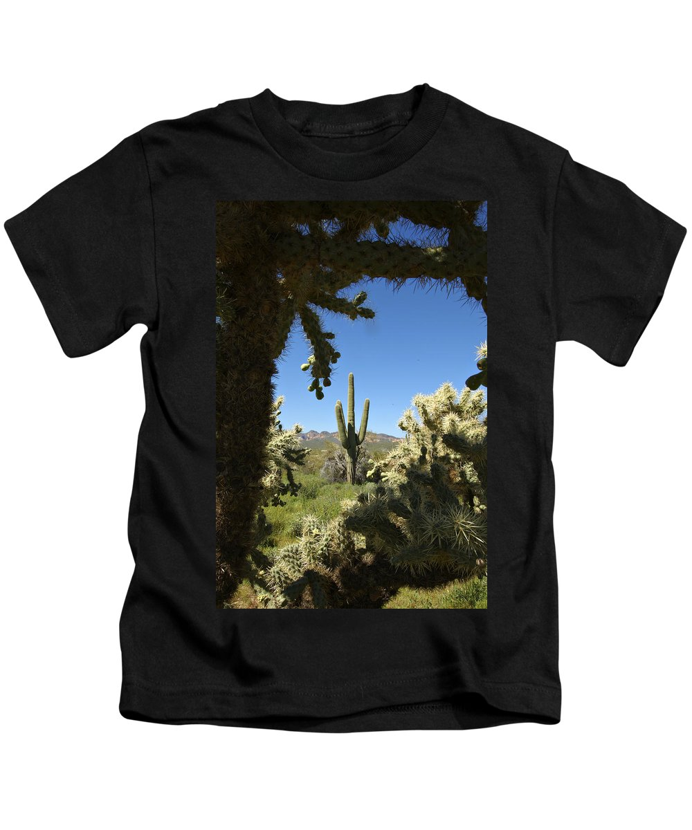 Saguaro Kids T-Shirt featuring the photograph Hands Up You're Surrounded by Jill Reger