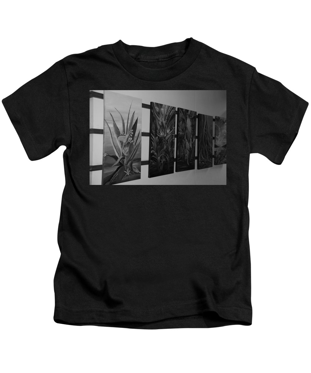 Black And White Kids T-Shirt featuring the photograph Hanging Art by Rob Hans