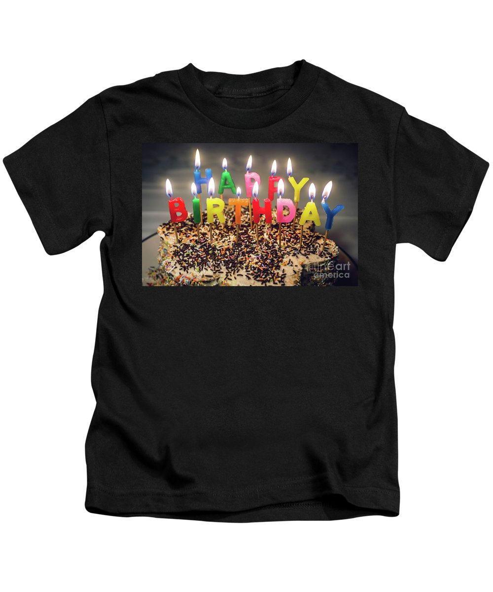 Candles Kids T-Shirt featuring the photograph Happy Birthday Candles by Carlos Caetano