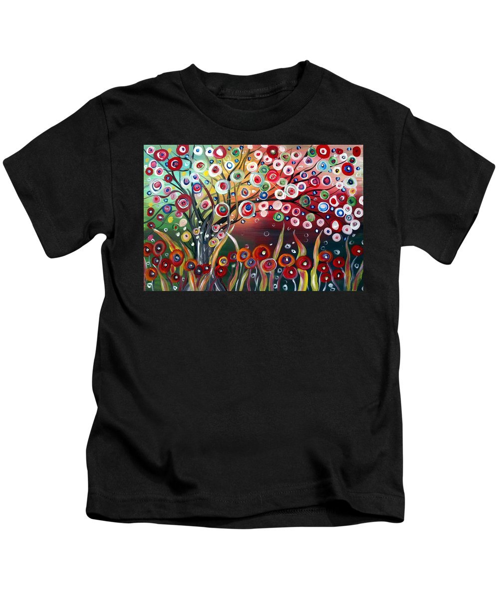 Landscape Kids T-Shirt featuring the painting Happy Days by Luiza Vizoli
