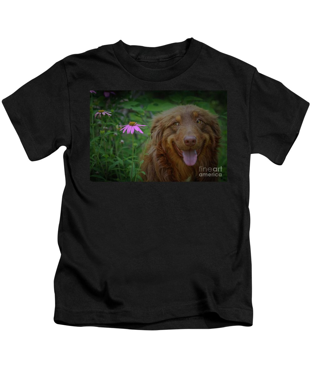 Animals Kids T-Shirt featuring the photograph Happy Dog Days by Kim Henderson