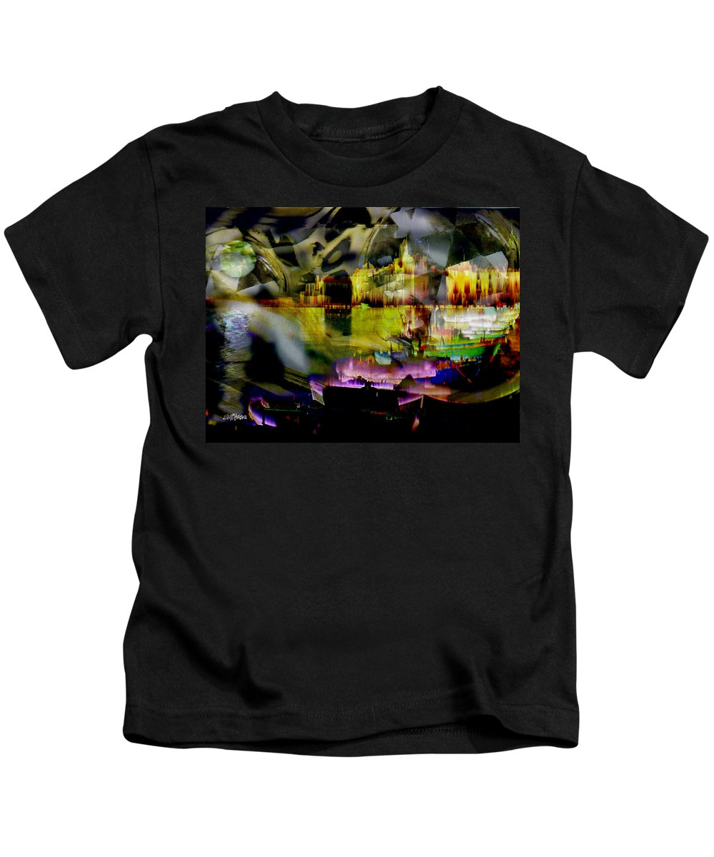 European Kids T-Shirt featuring the digital art Harbor Scene Through A Vodka Bottle by Seth Weaver