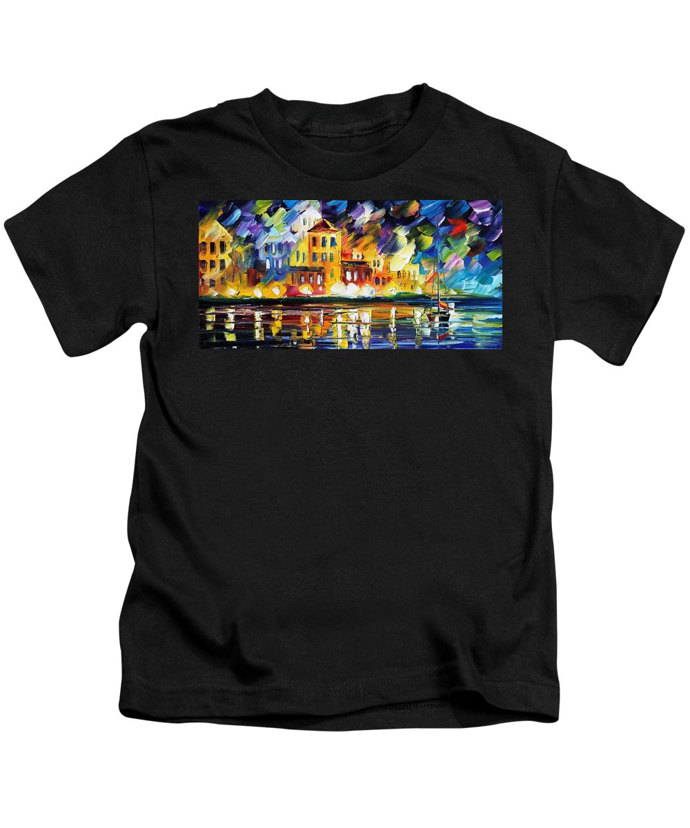 Afremov Kids T-Shirt featuring the painting Harbor's Flames by Leonid Afremov