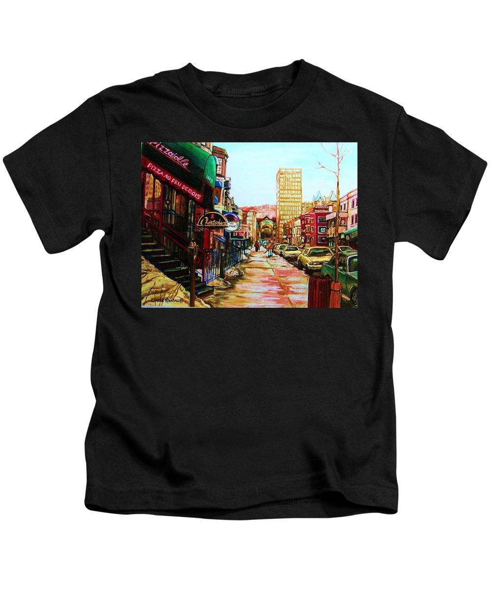 Hardrock Cafe Kids T-Shirt featuring the painting Hard Rock Cafe by Carole Spandau