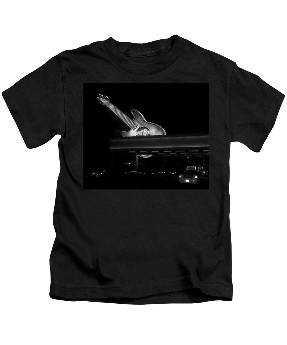 Vegas Kids T-Shirt featuring the photograph Hard Rock Cafe Sign 2 B-w by Anita Burgermeister