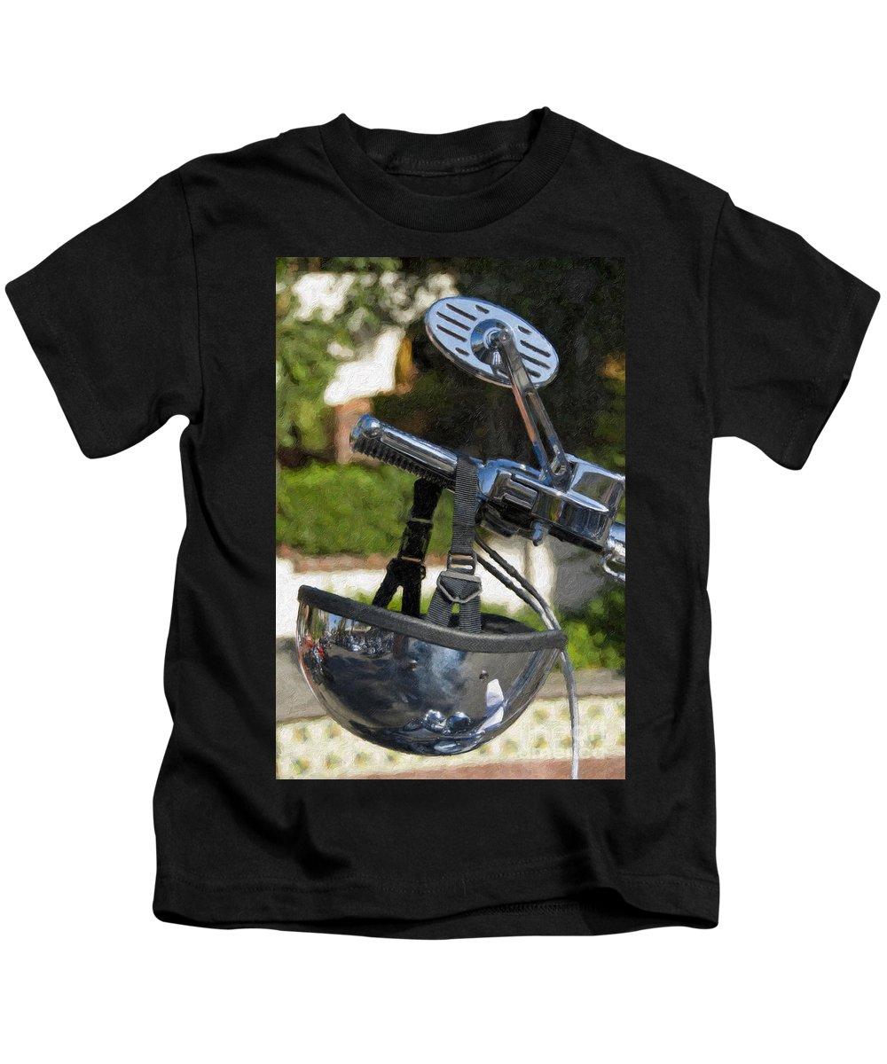 Helmet Kids T-Shirt featuring the photograph Harley Davidson Helmet And Handlebar Controls Switches by David Zanzinger