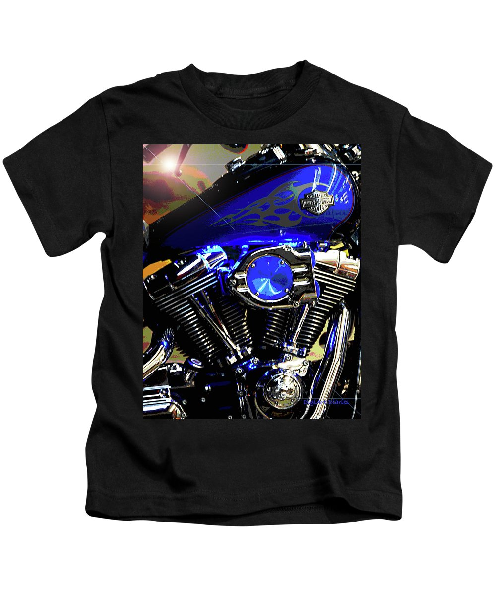 Harley Davidson Kids T-Shirt featuring the photograph Harleys Twins by DigiArt Diaries by Vicky B Fuller
